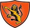 Löwe mit Schwert auf und griffen mit Schild
