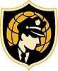 Wachdienst oder Polizei Büro mit Globus