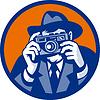 Fotograf mit Filzhut Ziel Retro SLR-Kamera