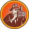 Fotograf mit Hut Ziel Retro-Kamera