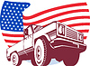 Amerikanischen Pickup Truck mit Flagge Stars and Stripes