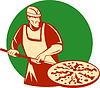 Pizza pie maker oder Bäcker hält Backform