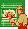 Pizza pie maker oder Bäcker holding Backform Backofen