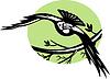 Raven Vogel fliegen mit branch