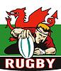 Rugbyspieler versuchen Wales Flagge