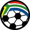 Fußball mit Flagge der Republik Südafrika
