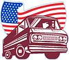 1950 `s Stil Kombiwagen mit amerikanischer Flagge