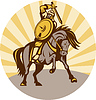 Krieger mit Schild und Schwert auf Pferd