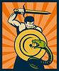 Krieger mit Schwert und Schild markante Schlange oder