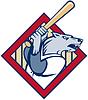 Wilder Hund oder Wolf spielen Baseball Batting Fledermaus