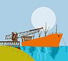 Boom Kranbeladung Frachtschiff