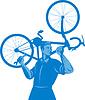 Radfahrer halten Mechaniker Schraubenschlüssel und tragen Fahrrad