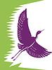 Heron Crane Fliegen Retro