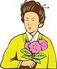 Japanerin im Kimono holding Blumen