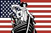 Amerikanische Revolution Soldat allgemeinen Flagge