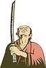 japanischen Samurai-Krieger mit Schwert Nachschlagen