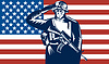 US-Soldat salutieren Flagge im Rücken