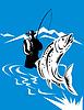 Forellen springen von Fliegenfischer taumelte