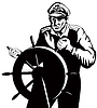 Fisherman Sea Captain Am Helm Retro