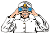 Vector clipart: Navy Captain Sailor With Binoculars