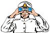ID 3978046 | Navy Kapitän Seemann mit Fernglas | Stock Vektorgrafik | CLIPARTO