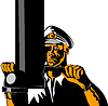 Vector clipart: Navy Captain Sailor With Periscope