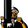 ID 3978048 | Navy Kapitän Seemann mit Periskop | Stock Vektorgrafik | CLIPARTO