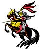 Ritter mit Schwert auf Pferd