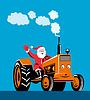 Weihnachtsmann auf Traktor