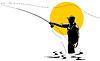 Lot rybaka z prętem i kołowrotka | Stock Vector Graphics