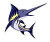 Blue Marlin Fisch Springen Retro