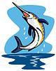 블루 말린 생선 레트로 점프 | Stock Vector Graphics