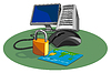 Computermaus Kreditkarte Padlock Retro