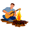 Man Camping Playing Guitar | Stock Vector Graphics