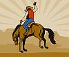 Rodeocowboyreitsträubendes Bronco Pferd
