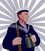 Vector clipart: Navy Sailor Rifle Binoculars Retro