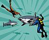 Taucher und Sharks