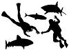 Scuba Divers und Sharks Silhouette