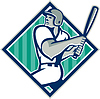 Baseball Batting Hitter Diamant Retro