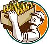 Bartender Tragen Bier-Kasten Retro