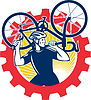 Radfahrer Fahrrad Mechanic Tragen Bike Kettenrad