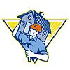 Builder Bauarbeiter Hammer House | Stock Vektrografik