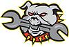 Bulldogge Spanner-Kopf-Maskottchen
