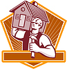 Builder Carpenter Carry Haus Retro