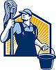 Hausmeister Reiniger mit Mopp Eimer Retro