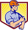 건설 노동자는 슬리브 레트로 롤업 | Stock Vector Graphics