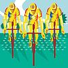 Radfahrer einen.Kreislauf.durchmachenlange Retro
