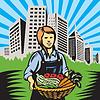 Female Organic Farmer Ernte Gebäude Retro