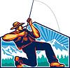 Fly Fisherman Reeling Angelrute Retro