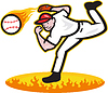 Baseball Pitcher Wurfball On Fire